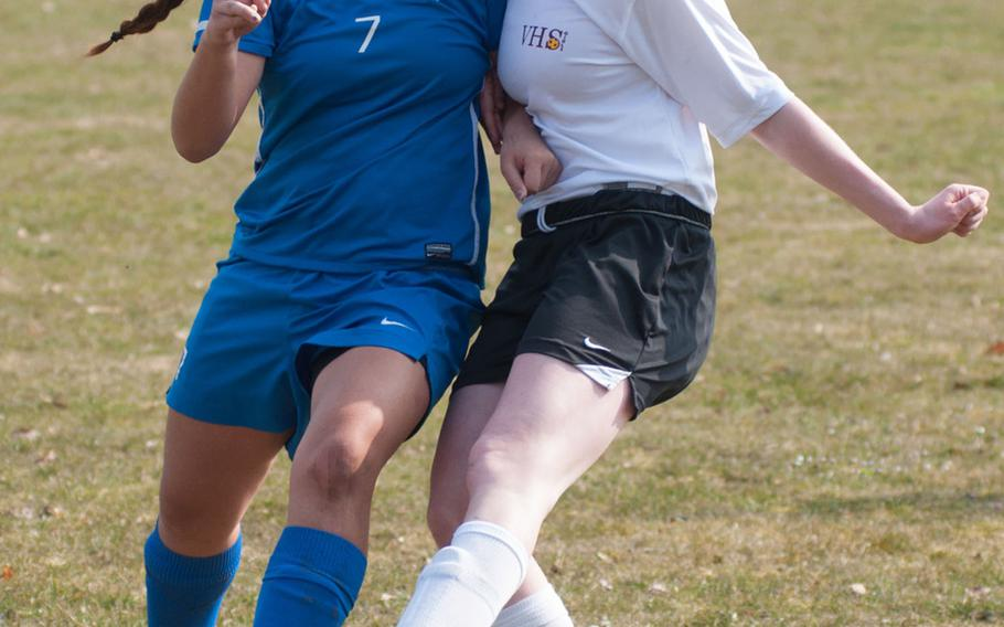 April Baik scored the first of seven goals for the Ramstein Royals, during their 7-0 victory over Vilseck during the DODDS-Europe Division I soccer opener, Mar. 21, 2015.