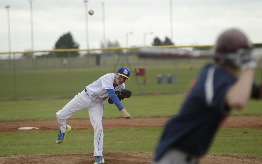 Wiesbaden's Dylan Blackmon pitches against Lakenheath's Brandon Moorehead during a baseball game on Saturday, March 28, 2015, at RAF Feltwell, England. The two schools each took home one victory from the double header.