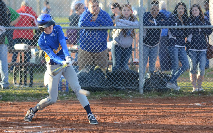 Ansbach's Christian Mattil connects with the ball for a grounder Saturday, during a game against Aviano at Aviano Air Base, Italy. Ansbach won 10-7.