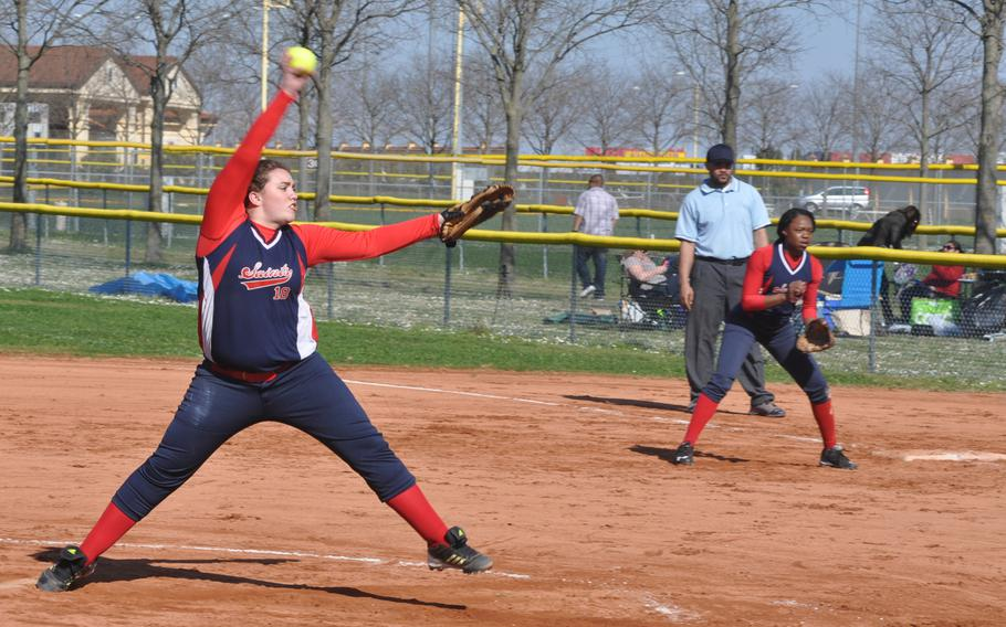Aviano pitcher McKenzie Milligan winds toward home in the Saints' 17-7 victory over Hohenfels on Saturday. Aviano went 3-0 on the weekend to open the season.