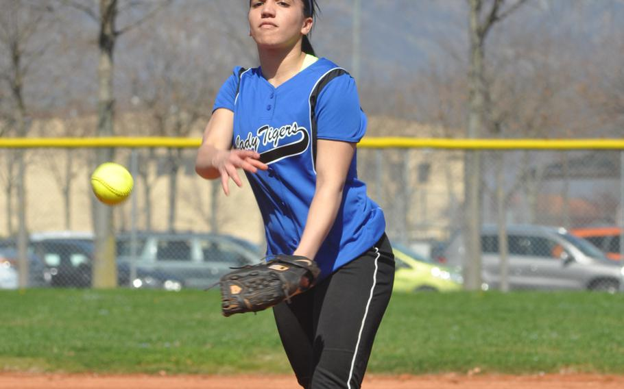 Hohenfels pitcher Latisha Williams hurls the ball toward home in the Tigers' 24-9 loss to Sigonella.