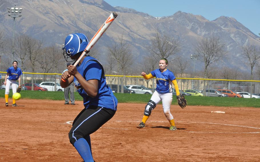 Sigonella pitcher Hanna Barnes didn't get the called strike she was hoping for against Hohenfels. But the Jaguars rallied for a 24-9 victory Saturday at Aviano Air Base, Italy.
