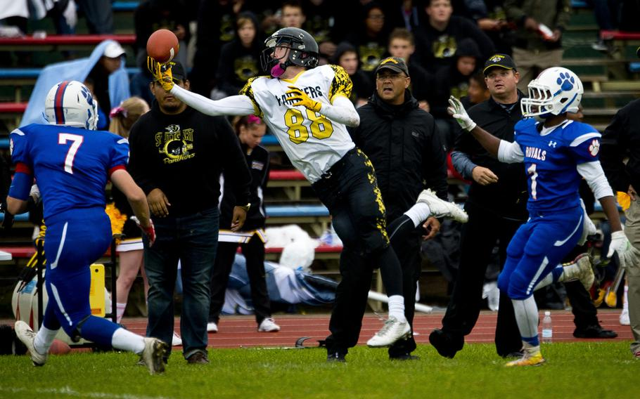 Stuttgart's Sean Loeben jumps for a pass at Ramstein Air Base, Germany, on Saturday, Oct. 15, 2016. Stuttgart lost the game to Ramstein 29-0.