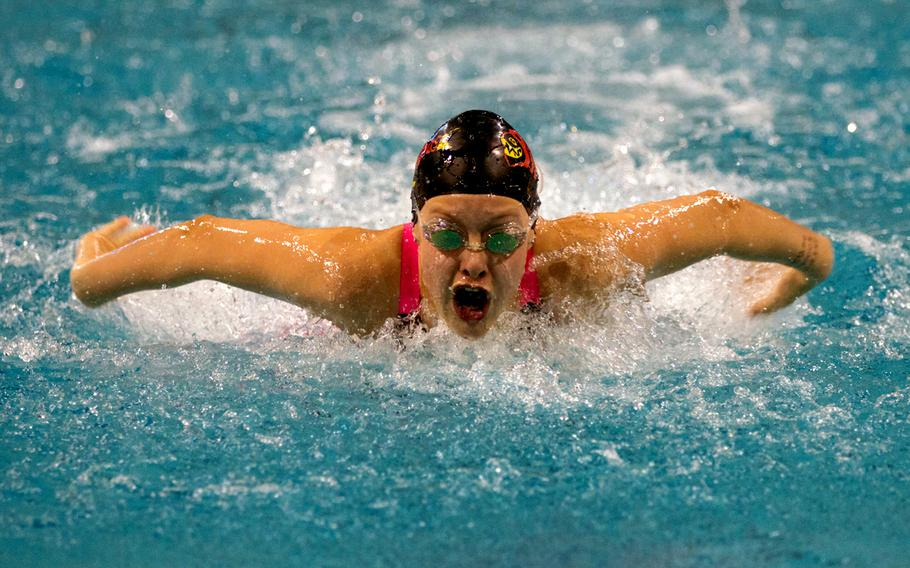 Stuttgart's returning champion swimmer, Ella Bathurst, set a new record in the girls 12-year-old 50 meter butterfly at the 2016 European Forces Swim League Championship held in Eindhoven, Netherlands, Feb. 27, 2016. Bathurst finished with a time of 0:31.59.