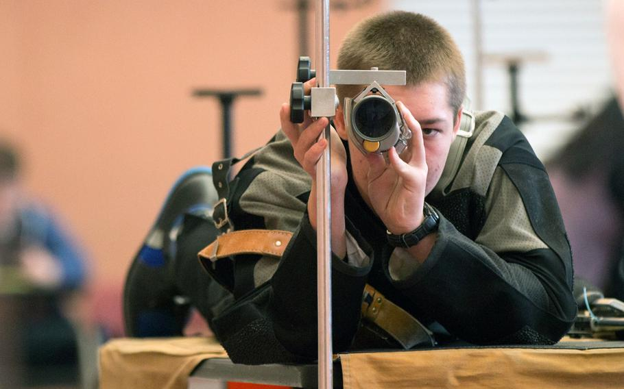Kaiserslautern's Scott Wemhoff peers through his scope before taking up a firing position during the 2016 DODDS-Europe marksmanship finals held in Vilseck, Germany, Saturday, Jan. 30, 2016.