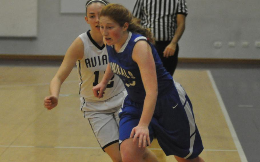 Rota's Emma Hook drives toward the basket in the Admirals' 47-31 victory Thursday over the Aviano Saints in Italy.