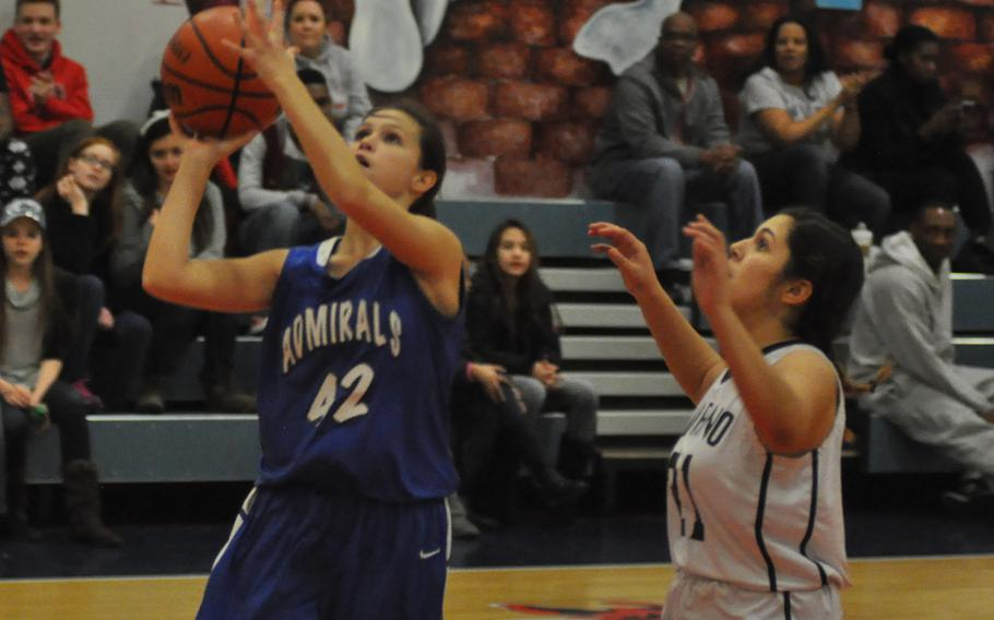Rota's Sophia Restivo puts up a shot Thursday in the Admirals' 47-31 victory over Aviano.