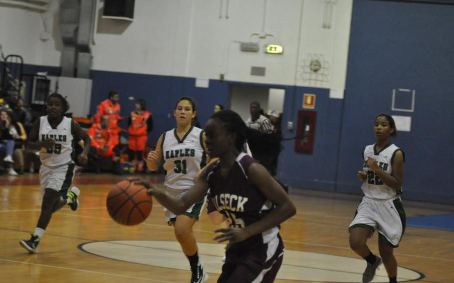 Vilseck's Tynniesia Wilson was a terror on defense, coming up with nine steals. She was also credited with a pair of baskets in the Falcons' 37-14 loss to Naples on Friday, Jan. 20, 2017.