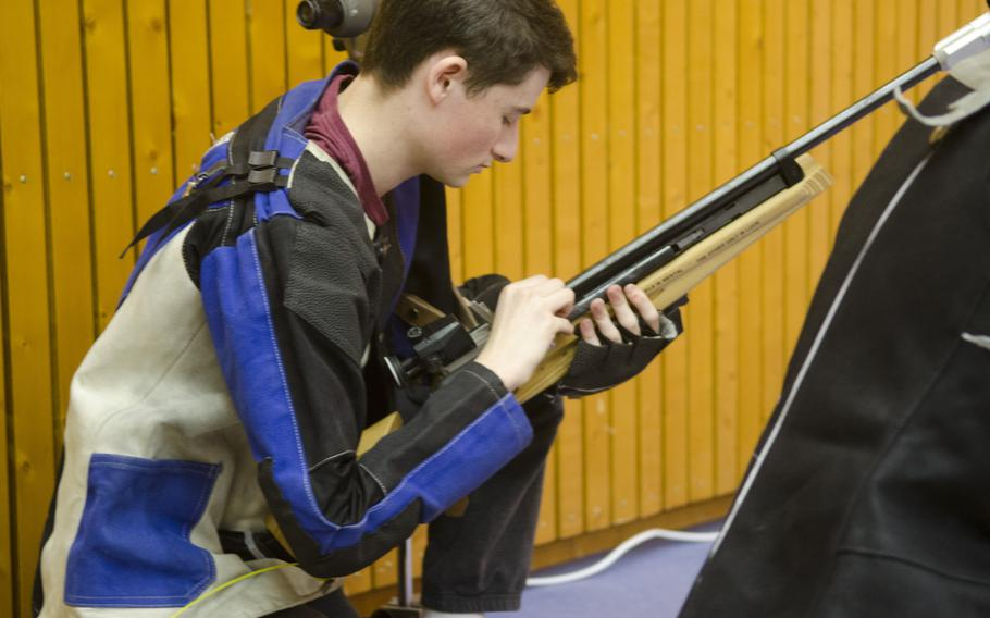 Alec Engel of Wiesbaden loads his air rifle during a conference marksmanship competition in Wiesbaden, Saturday, Jan. 21, 2017. Engel finished with a 225, good for fourth on his squad.
