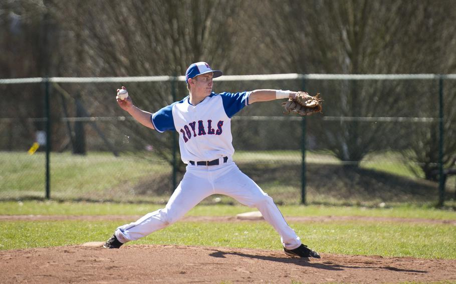 Ramstein's Aaron Schlosser pitches the ball during a doubleheader at Ramstein Air Base, Germany, on Thursday, March 30, 2017.