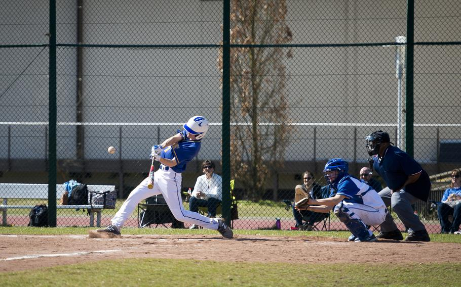 Wiesbaden's Finn Swafford takes a swing during a doubleheader at Ramstein Air Base, Germany, on Thursday, March 30, 2017. Wiesbaden defeated Ramstein 4-1 in the first game, but lost the second game 13-3.