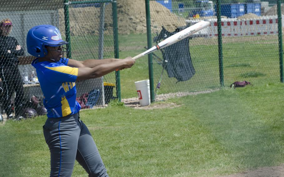 TiYonna Dillard of Wiesbaden takes a swing during the second leg of a doubleheader against Vilseck, Saturday, May 6, 2017 in Wiesbaden. Vilseck took both games to improve to 9-1 on the season.