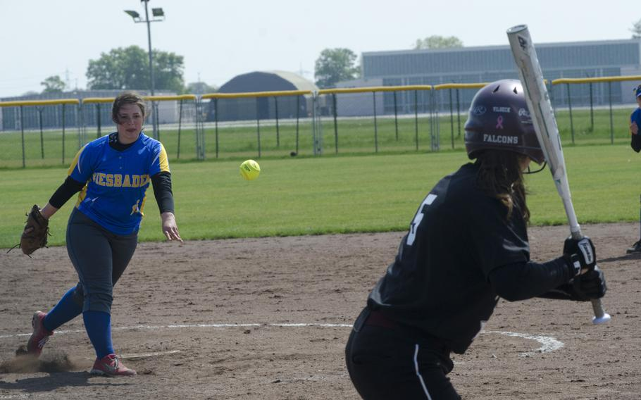 Wiesbaden's Maria Jenkins pitches to Vilseck's Ashley Irby during a doubleheader, Saturday, May 6, 2017 in Wiesbaden. Vilseck scored 35 runs over the two games to improve to 9-1 on the season.