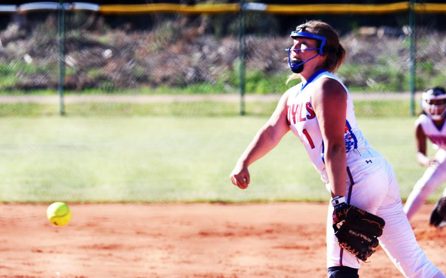Ramstein's Abby Walker pitches the ball during the championship game against Stuttgart, in Ramstein, Germany, Saturday, May 27.