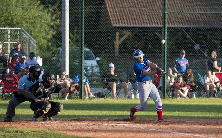 Ramstein's Kyle Glenn hits the ball during the DODEA-Europe baseball tournament in Kaiserslautern, Germany, on Thursday, May 25, 2017. Ramstein won the Division I game against Vicenza 9-2.