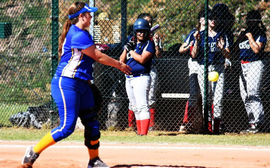 Sigonella's Hanna Barnes pitches during the championship game against Bitburg, in Ramstein, Germany, Saturday, May 27.