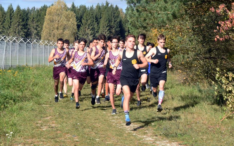Stuttgart's Paul Fullwood is ahead of the pack at the cross country race at Vilseck, Germany, Sat., Oct. 14, 2017.