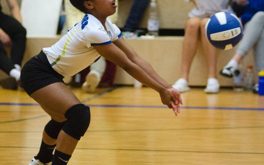 Wiesbaden's Nickeya Marshall digs out the ball during a match against Stuttgart in Wiesbaden, Germany, Saturday, Oct. 14, 2017. Marshall and fellow senior Mallory Johnson were honored before the game for the school's Senior Day, and helped lead the Warriors to a win over Lakenheath earlier.