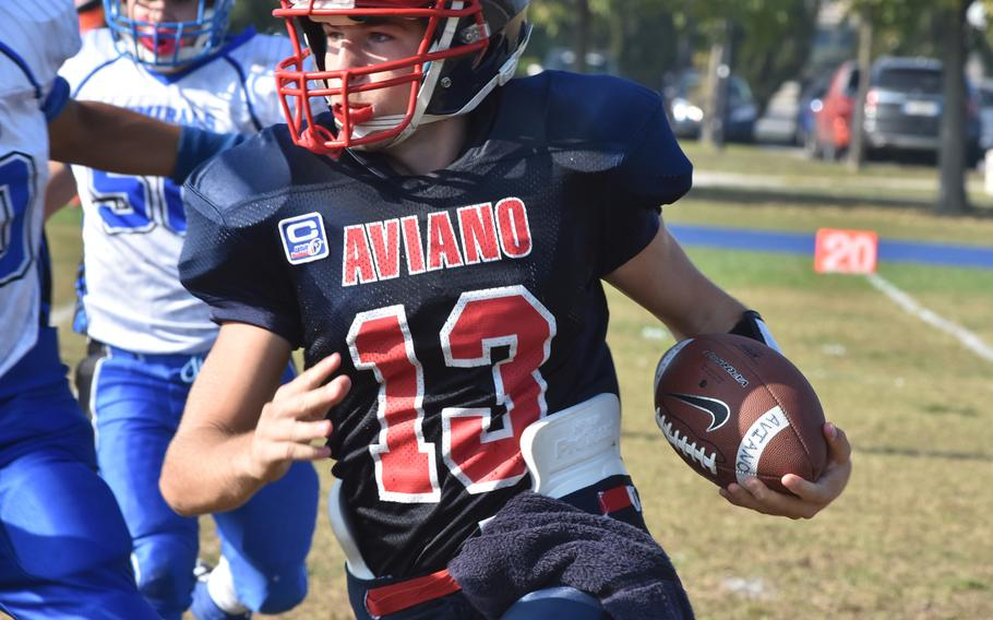 Aviano quarterback Mason Shine gained only 3 net yards on the ground Saturday, but threw for more than 160 yards in the Saints' 33-30 victory over Rota.