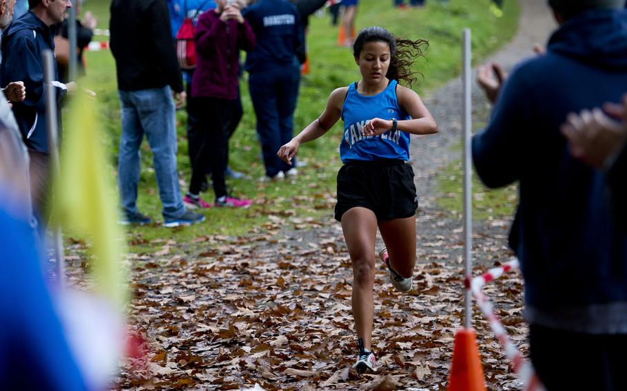 Ramstein's McKenzie Perkes takes second place with a 21:01 finish during a cross country meet in Ramstein-Miesenbach, Germany, on Saturday, Oct. 21, 2017.