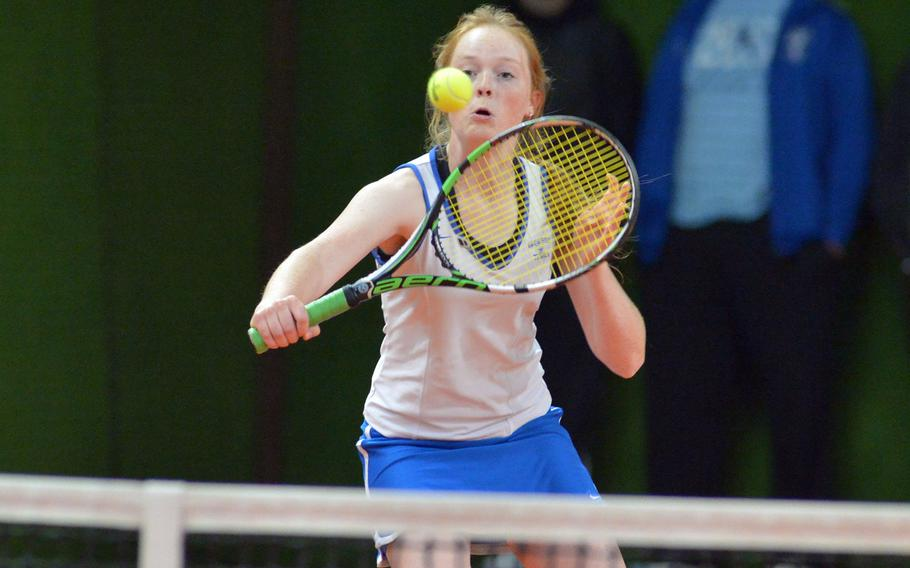 Ramstein's Megan Stretch makes a return at the net as she and partner Amanda Daly defeated Naples' Amy Stutzman and April Sullivan 6-1, 6-2 at the DODEA-Europe tennis championships in Wiesbaden, Germany, Thursday, Oct. 26, 2017.