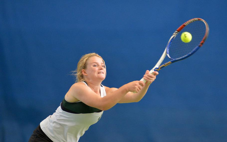 Naples' April Sullivan stretches to return a Wiesbaden shot in a doubles semifinal at the DODEA-Europe tennis finals in Wiesbaden, Germany, Friday, Oct. 27, 2017. Sullivan and teammate Amy Stutzman fell to Melissa Pritchett and Shelby Albers 6-2, 6-3.