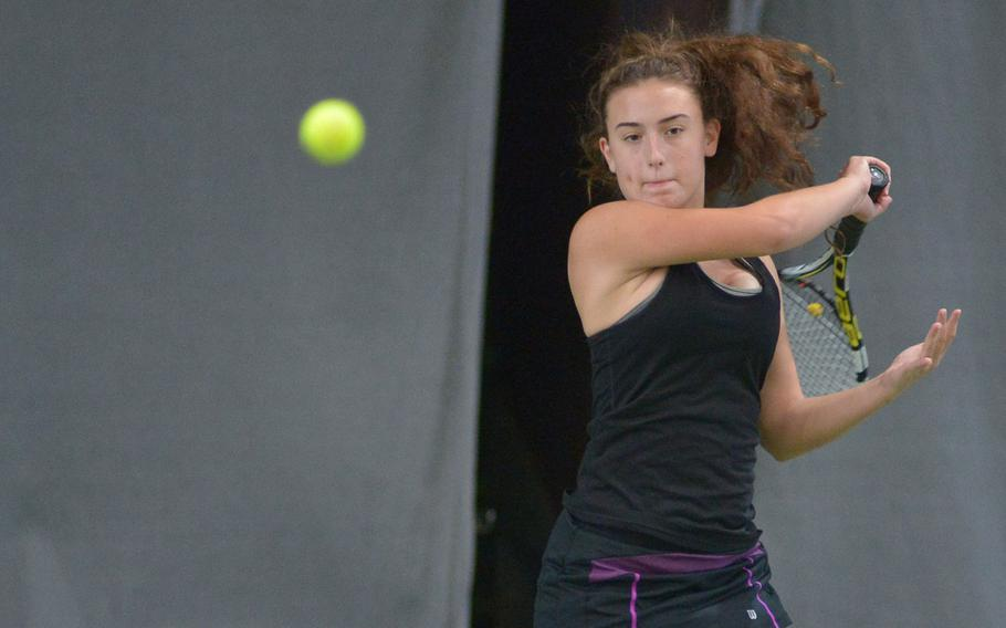 Bahrain's Chloe McHenry returns a shot against Vicenza's Catherine Gulihur in a semifinal match at the DODEA-Europe tennis finals in Wiesbaden, Germany, Friday, Oct. 27, 2017. McHenry lost 6-0, 6-0.