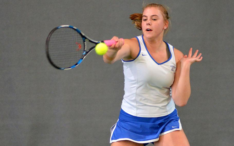 Ramstein's Cami Carswell returns a shot in her 6-2, 6-0 semifinal loss to Wiesbaden's Charlotte Kordonowy at the DODEA-Europe tennis finals in Wiesbaden, Germany, Friday, Oct. 27, 2017.