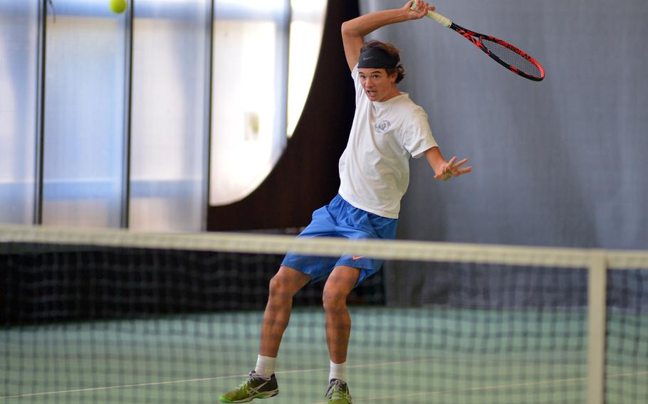 Marymount's Mathias Mingazzini returns a shot from Kaiserslautern's Kevin Butler in his 6-1, 6-0 semifinal win at the DODEA-Europe tennis finals in Wiesbaden, Germany, Friday, Oct. 27, 2017. Mingazzini will try to defend his title against SHAPE's Noah Banken, Saturday.