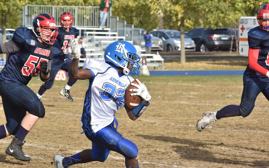Rota sophomore running  back Cameron Wilson was hard to bring down Saturday, rushing for a game-high 208 yards in the Admirals' 26-21 victory over Aviano.