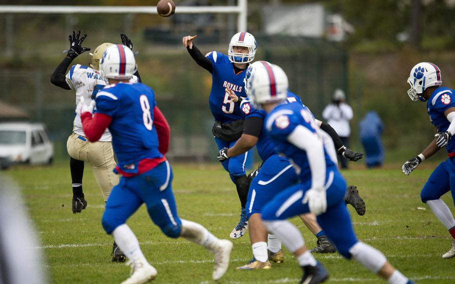 Ramstein's Trevor Miller throws a pass during the DODEA-Europe Division I semifinals at Ramstein Air Base, Germany, on Saturday, Oct. 28, 2017. Ramstein defeated Wiesbaden 13-6.
