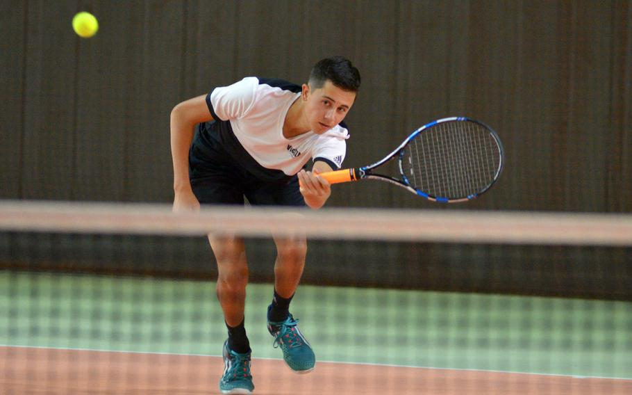 Connor Wilson of Vicenza at the DODEA-Europe tennis championships, Thursday Oct. 26, 2017.