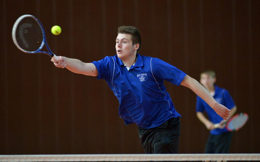 Callum Proulx of Brussels at the DODEA-Europe tennis championships, Thursday Oct. 26, 2017.