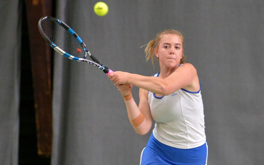 Cami Carswell of Ramstein at the DODEA-Europe tennis championships, Thursday Oct. 26, 2017.