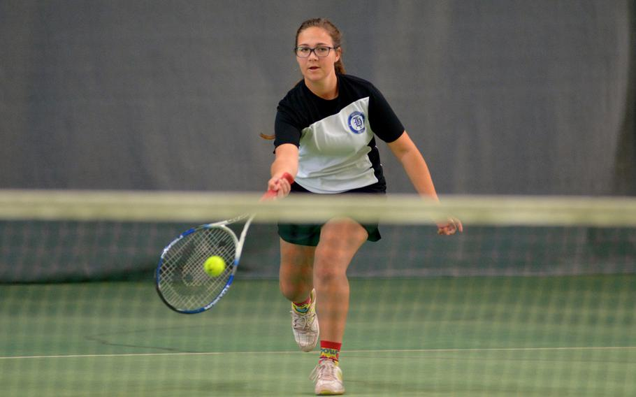 Chole Witty at the DODEA-Europe tennis championships, Thursday Oct. 26, 2017.