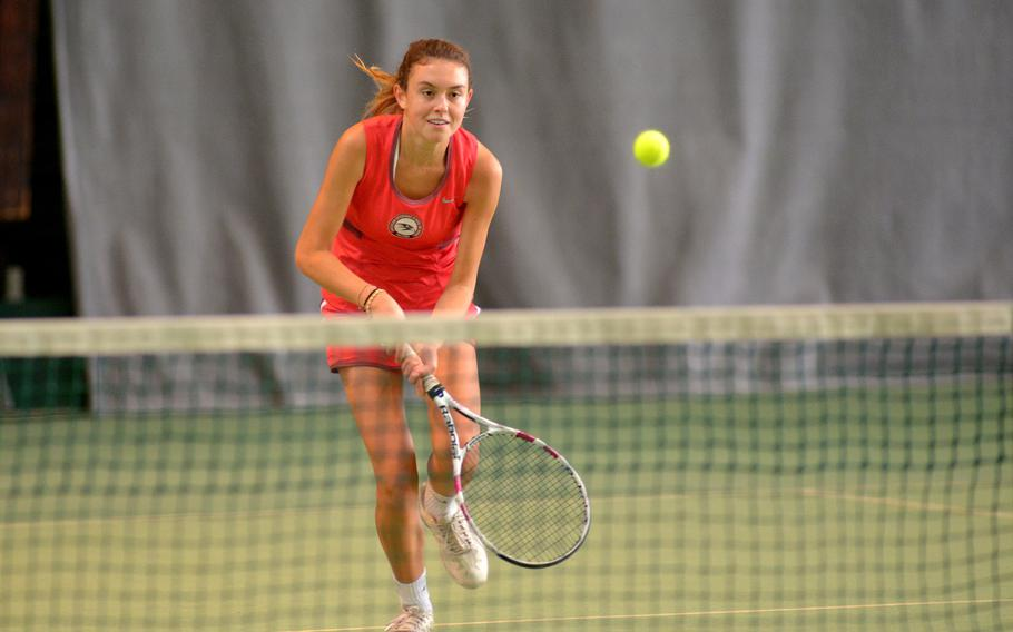 Camilla Lynch of Naples at the DODEA-Europe tennis championships, Thursday Oct. 26, 2017.