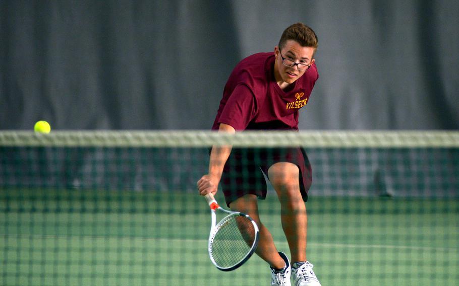 Ben Keeler of Vilseck at the DODEA-Europe tennis championships, Thursday Oct. 26, 2017.