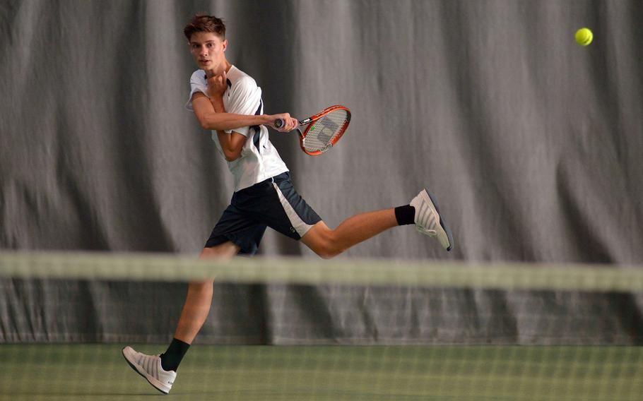 Phillip Lyons of Alconbury at the DODEA-Europe tennis championships, Thursday Oct. 26, 2017.