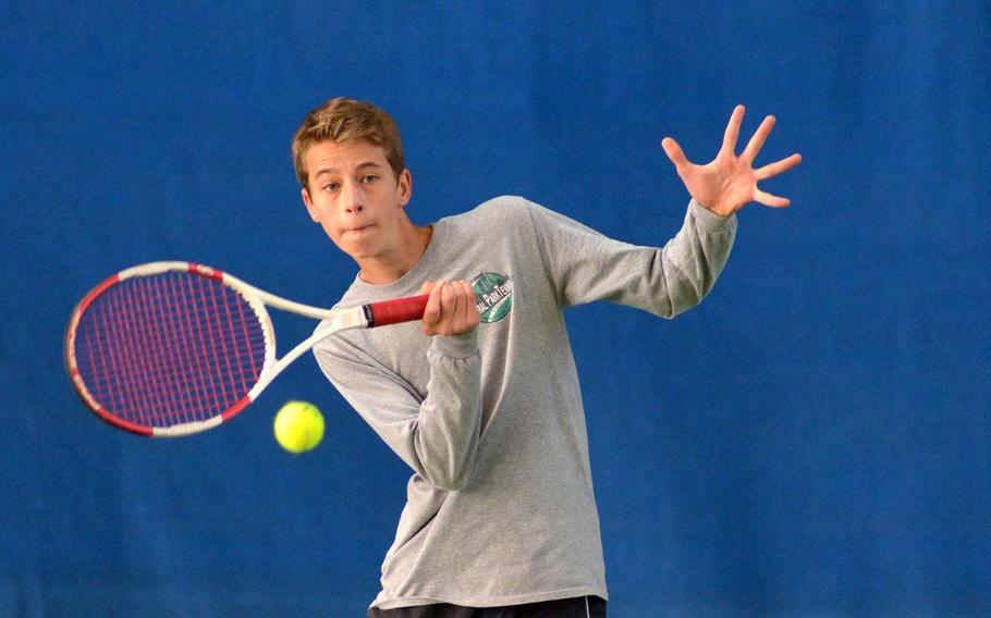 Alessandro Caccamo of Marymount at the DODEA-Europe tennis championships, Thursday Oct. 26, 2017.