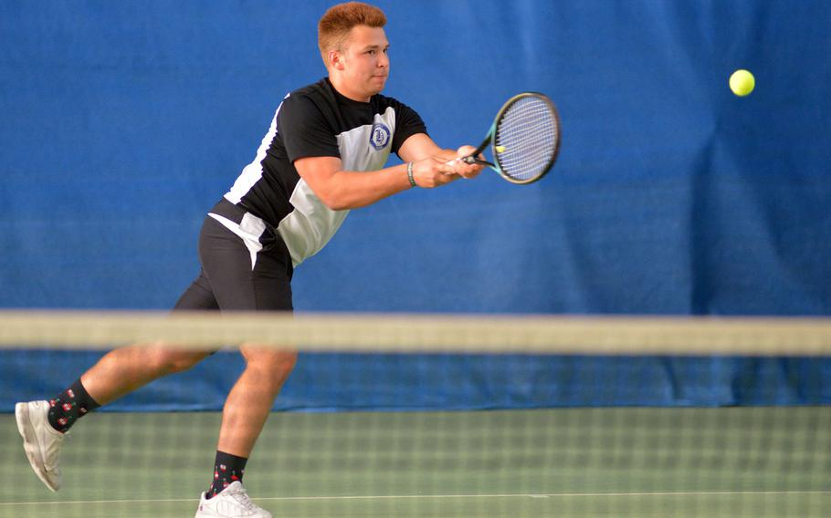 Mason Jannise of Hohenfels at the DODEA-Europe tennis championships, Thursday Oct. 26, 2017.
