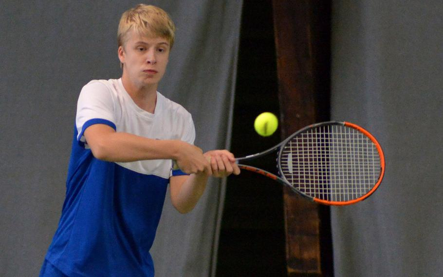 Benjamin Petrik of Wiesbaden at the DODEA-Europe tennis championships, Thursday Oct. 26, 2017.