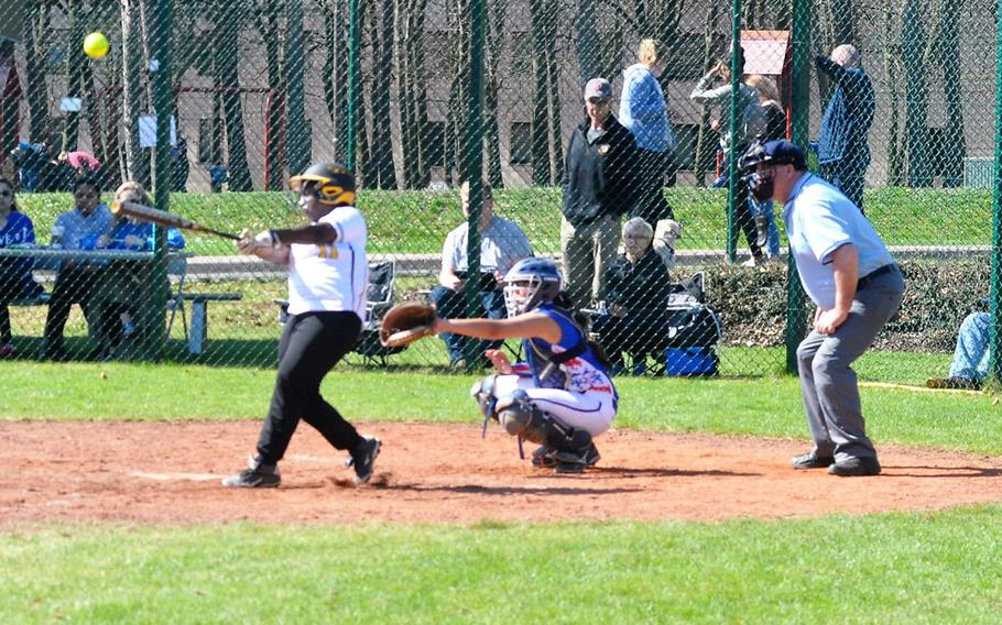 Stuttgart's Tayah Curry makes contact with a pitch in the Panthers' 15-6 loss to the Ramstein Royals on Saturday, April 14, 2018 at Ramstein Air Base.