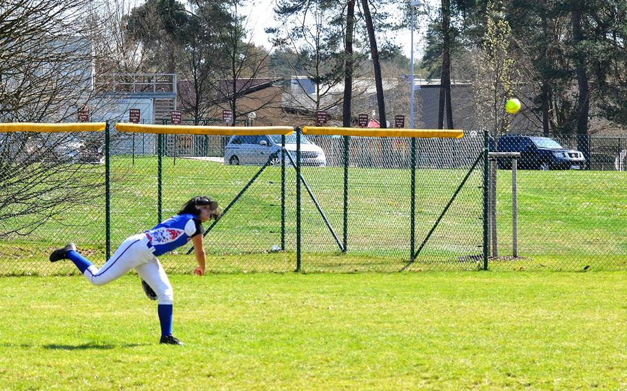 Ramstein left fielder Arianna Rivera throws the ball back to the infield after a Stuttgart hit in the Royals' 15-6 defeat of the Panthers on Saturday, April 14, 2018 at Ramstein Air Base.