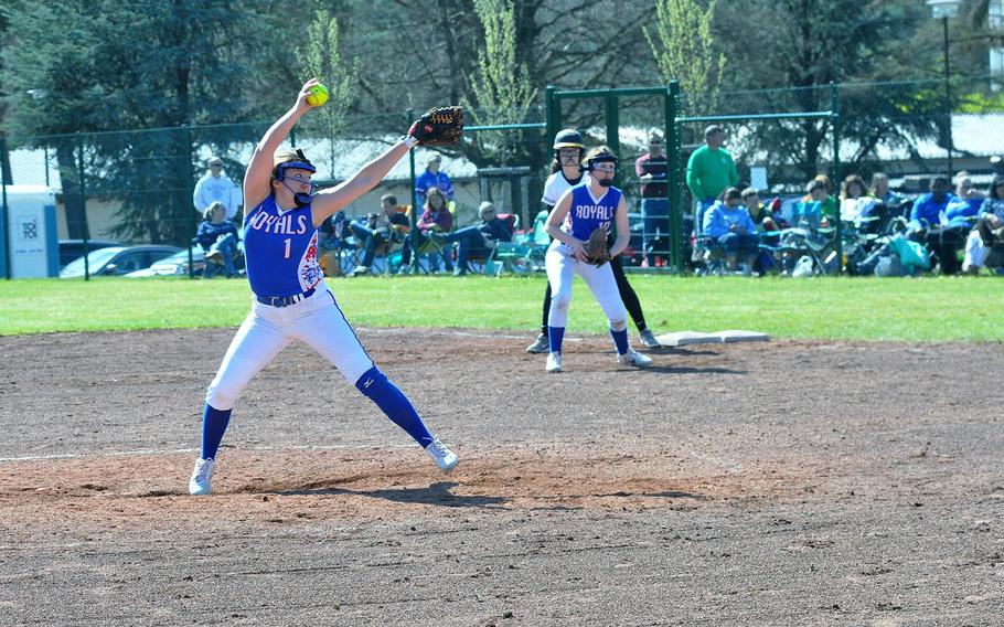 Ramstein pitcher Abby Walker readies a pitch in the Royals' 15-6 defeat of the Stuttgart Panthers on Saturday, April 14, 2018 at Ramstein Air Base.