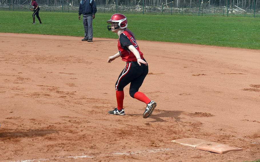 Kaiserslautern's Chloe Whisennend steels a base during a game at Vilseck, Germany, Saturday, April 14, 2018.