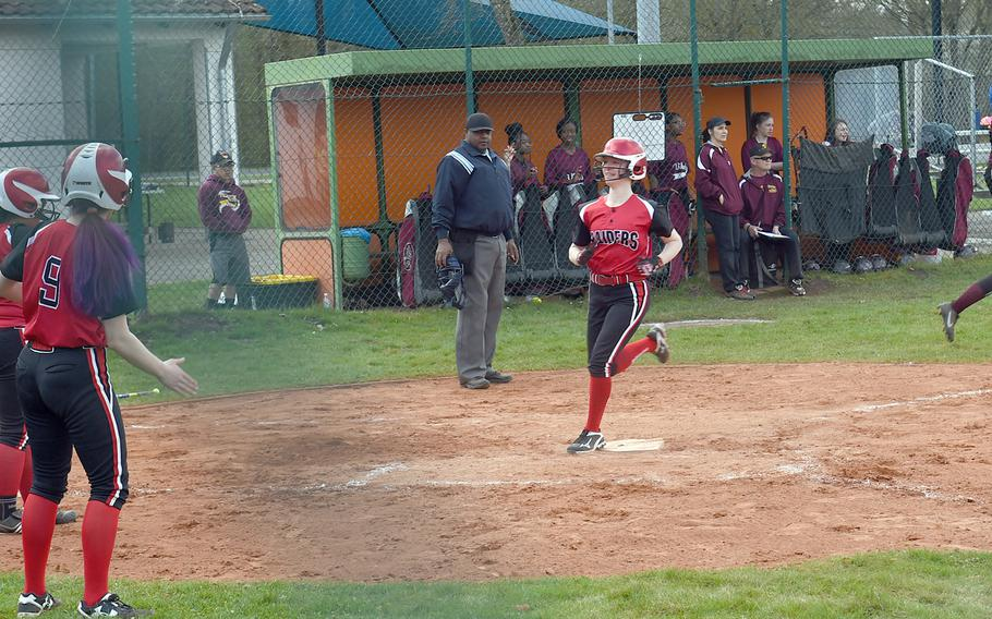 Kaiserslautern's Phoenix Whisennand runs across home plate during a game at Vilseck, Germany, Saturday, April 14, 2018.