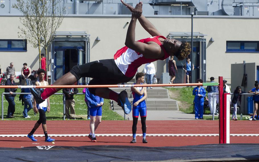 Kaiserslautern's Tre Dotson clears the bar in high jump during a 10-team meet in Wiesbaden, Germany, Saturday, April 14, 2018. Dotson tied with Wiesbaden's Markez Middlebrooks for first place in the event.