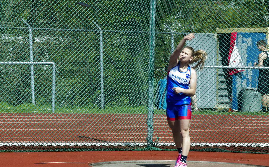 Ramstein's Mel Masur throws a discus during a 10-team meet in Wiesbaden, Germany, Saturday, April 14, 2018. Masur threw more than 64 feet, good for sixth in the event.