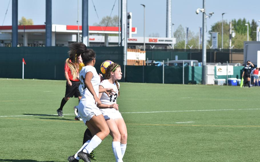 Naples defender Kyra Barrows uses her head to stop the ball in the Wildcats' 1-0 loss to Stuttgart on Friday, April 20, 2018, in Vicenza, Italy.