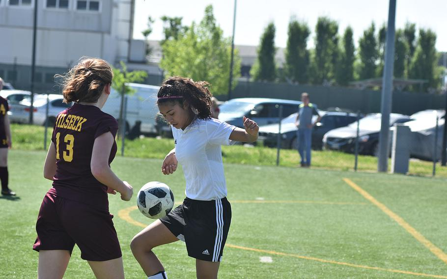 Vicenza's Amy Silbaugh gains control of the ball while defended by Vilseck's Veruca Caronett on Friday, April 20, 2018, in Vicenza, Italy.